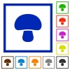 Mushroom flat framed icons - Mushroom flat color icons in square frames on white background