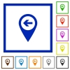 Previous target GPS map location flat framed icons - Previous target GPS map location flat color icons in square frames on white background