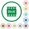 DivX movie format flat icons with outlines - DivX movie format flat color icons in round outlines on white background