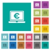 Laptop with Euro sign square flat multi colored icons - Laptop with Euro sign multi colored flat icons on plain square backgrounds. Included white and darker icon variations for hover or active effects.