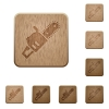 Chainsaw wooden buttons - Chainsaw on rounded square carved wooden button styles