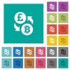 Pound Bitcoin money exchange square flat multi colored icons - Pound Bitcoin money exchange multi colored flat icons on plain square backgrounds. Included white and darker icon variations for hover or active effects.