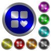 Favorite component luminous coin-like round color buttons - Favorite component icons on round luminous coin-like color steel buttons