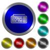 Computer keyboard luminous coin-like round color buttons - Computer keyboard icons on round luminous coin-like color steel buttons