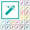 Magic wand flat color icons with quadrant frames - Magic wand flat color icons with quadrant frames on white background