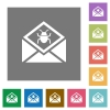 Open mail with malware symbol square flat icons - Open mail with malware symbol flat icons on simple color square backgrounds