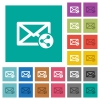 Share mail square flat multi colored icons - Share mail multi colored flat icons on plain square backgrounds. Included white and darker icon variations for hover or active effects.