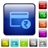 Rupee credit card color square buttons - Rupee credit card icons in rounded square color glossy button set