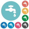 Water faucet with water drop flat round icons - Water faucet with water drop flat white icons on round color backgrounds