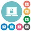 Locked laptop flat round icons - Locked laptop flat white icons on round color backgrounds