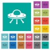 UFO square flat multi colored icons - UFO multi colored flat icons on plain square backgrounds. Included white and darker icon variations for hover or active effects.
