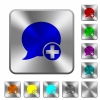 Post blog comment rounded square steel buttons - Post blog comment engraved icons on rounded square glossy steel buttons