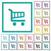 Single cart flat color icons with quadrant frames - Single cart flat color icons with quadrant frames on white background