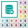 Database transaction rollback flat color icons with quadrant frames - Database transaction rollback flat color icons with quadrant frames on white background