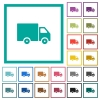 Delivery truck flat color icons with quadrant frames - Delivery truck flat color icons with quadrant frames on white background