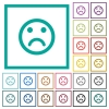 Sad emoticon flat color icons with quadrant frames - Sad emoticon flat color icons with quadrant frames on white background