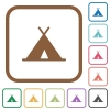 Tent simple icons - Tent simple icons in color rounded square frames on white background
