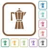 Coffee maker simple icons - Coffee maker simple icons in color rounded square frames on white background