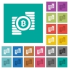 Bitcoins square flat multi colored icons - Bitcoins multi colored flat icons on plain square backgrounds. Included white and darker icon variations for hover or active effects.