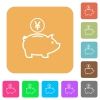 Yen piggy bank rounded square flat icons - Yen piggy bank flat icons on rounded square vivid color backgrounds.
