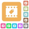 Tag movie rounded square flat icons - Tag movie flat icons on rounded square vivid color backgrounds.