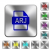 ARJ file format rounded square steel buttons - ARJ file format engraved icons on rounded square glossy steel buttons