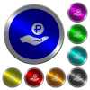 Ruble earnings luminous coin-like round color buttons - Ruble earnings icons on round luminous coin-like color steel buttons