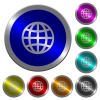 Globe luminous coin-like round color buttons - Globe icons on round luminous coin-like color steel buttons