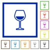 Glass of wine flat framed icons - Glass of wine flat color icons in square frames on white background