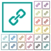 Link flat color icons with quadrant frames - Link flat color icons with quadrant frames on white background