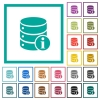 Database info flat color icons with quadrant frames - Database info flat color icons with quadrant frames on white background