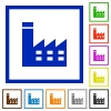 Factory building flat framed icons - Factory building flat color icons in square frames on white background