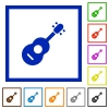 Acoustic guitar flat framed icons - Acoustic guitar flat color icons in square frames on white background