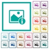 Image info flat color icons with quadrant frames - Image info flat color icons with quadrant frames on white background