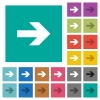 Right arrow square flat multi colored icons - Right arrow multi colored flat icons on plain square backgrounds. Included white and darker icon variations for hover or active effects.