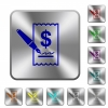 Signing Dollar cheque rounded square steel buttons - Signing Dollar cheque engraved icons on rounded square glossy steel buttons