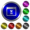 Waiting application luminous coin-like round color buttons - Waiting application icons on round luminous coin-like color steel buttons