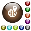 GPS location with globe symbol color glass buttons - GPS location with globe symbol white icons on round color glass buttons