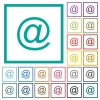 Single email symbol flat color icons with quadrant frames - Single email symbol flat color icons with quadrant frames on white background