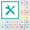 Tool kit flat color icons with quadrant frames - Tool kit flat color icons with quadrant frames on white background
