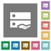 Shared drive square flat icons - Shared drive flat icons on simple color square backgrounds