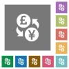 Pound Yen money exchange square flat icons - Pound Yen money exchange flat icons on simple color square backgrounds