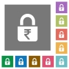 Locked rupees square flat icons - Locked rupees flat icons on simple color square backgrounds