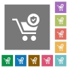 Secure shopping square flat icons - Secure shopping flat icons on simple color square backgrounds