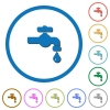Water faucet with water drop icons with shadows and outlines - Water faucet with water drop flat color vector icons with shadows in round outlines on white background