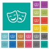 Comedy and tragedy theatrical masks multi colored flat icons on plain square backgrounds. Included white and darker icon variations for hover or active effects. - Comedy and tragedy theatrical masks square flat multi colored icons