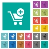 Add item to cart square flat multi colored icons - Add item to cart multi colored flat icons on plain square backgrounds. Included white and darker icon variations for hover or active effects.