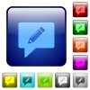 writing comment icons in rounded square color glossy button set - writing comment color square buttons