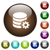 Database configuration color glass buttons - Database configuration white icons on round color glass buttons