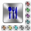 Restaurant engraved icons on rounded square glossy steel buttons - Restaurant rounded square steel buttons